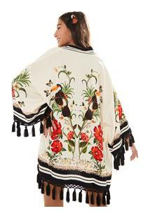 Kimono Franja Selva Flora - Est Selva Flora_Off White - U