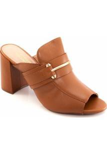 Tamanco Salto Grosso Sapato Show 60625172 - Feminino-Caramelo