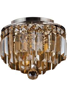 Plafon Sobrepor De Cristal Kri 21,5 Cmx25 Cmxx Bella Iluminação Âmbar