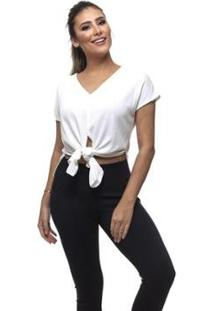 Blusa Clara Arruda Viscose Design Feminina - Feminino-Off White