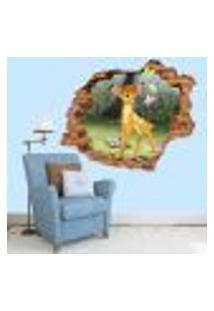 Adesivo De Parede Buraco Falso 3D Infantil Bambi 4 - Eg 100X122Cm