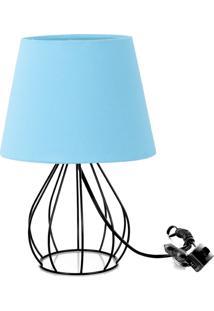 Abajur Cebola Dome Azul Bebe Com Aramado Preto - Azul - Dafiti