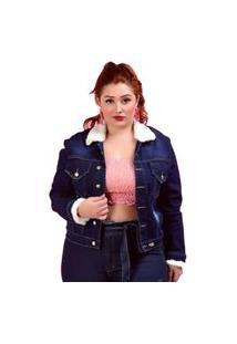Jaqueta Jeans Feminina Pelinho Escura Plus Size Azul