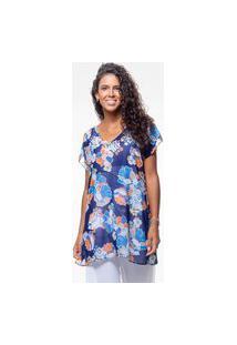 Blusa 101 Resort Wear Saida De Praia Estampada Crepe Decote V Flor Azul