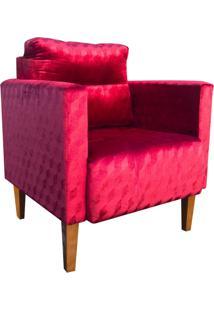 Poltrona Decorativa Lívia Para Sala E Recepção Suede Acetinado Vermelho Trabalhado - D'Rossi