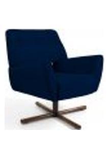 Poltrona Decorativa Giratória Base X Melli D02 Veludo Azul Marinho B-287 - Lyam Decor