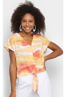 Blusa Lily Fashion Tie Dye Amarração Feminina - Feminino-Laranja