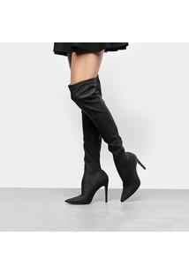 Bota Over The Knee Luiza Barcelos Elastano Ecowear Feminina - Feminino-Preto