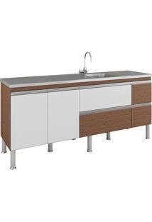 Gabinete Para Cozinha Prisma 86X194Cm Amêndoa E Branco