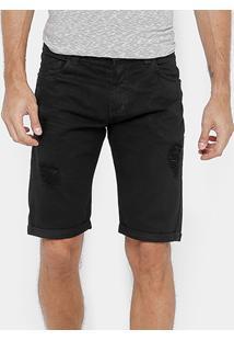 Bermuda Dardak Sarja Color Rasgada Masculina - Masculino