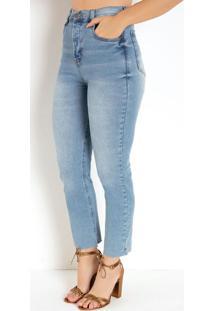Calça Reta Jeans Claro Com Bolsos Sawary