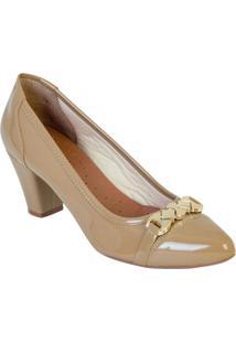 Sapato De Salto Bege Com Detalhe Dourado