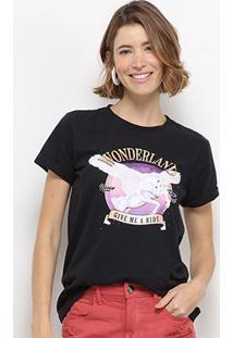 Camiseta Hapuna Baby Look Wonderland Feminina - Feminino-Preto