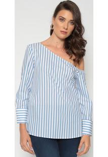 Blusa Listrada - Azul & Brancadudalina