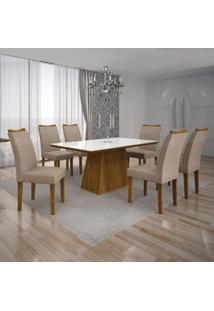 Conjunto Sala De Jantar Mesa Tampo Mdf/Vidro Branco 6 Cadeiras Pampulha Leifer Canela/Linho Bege