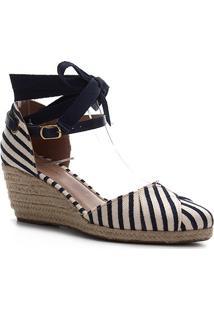 Sandália Anabela Shoestock Flatform Espadrille Tecido Navy Feminina - Feminino-Azul