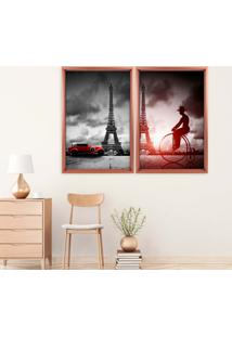 Quadro Love Decor Com Moldura Chanfrada Paris Rose Metalizado - Grande