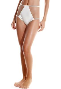 Calcinha Rosa Chá Audrey Tule Beachwear Off White Feminina (Off White, G)