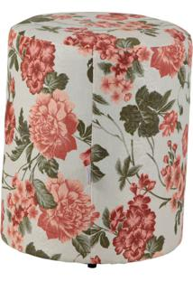 Puff Redondo Round Jacguard Floral Rosa