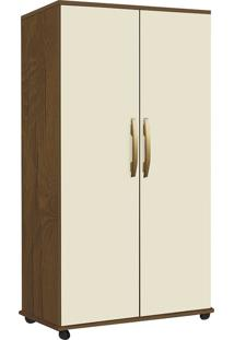 Armário Multiuso Com 2 Portas E 3 Prateleiras Nara-Móveis Primus - Mel / Perola