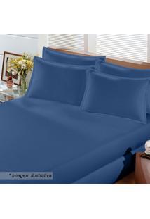Jogo De Cama Image Rolinho King Size- Azul Escuro- 3Buettner