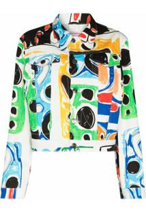 Charles Jeffrey Loverboy Jaqueta Jeans Com Estampa Gráfica - Branco