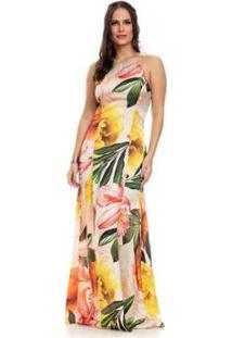 Vestido Clara Arruda Longo Decote Reto - Feminino-Bege+Dourado