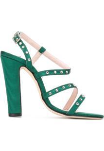 Leandra Medine Sandália Com Tachas - Verde