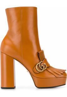 Gucci Ankle Boot Com Plataforma E Franjas - Marrom