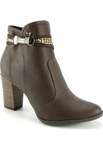 Bota Ankle Boots Mississipi Feminina - Feminino-Cafe