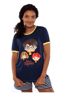 Pijama Curto De Visco Lycra Harry Potter Adulto Pp