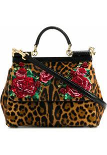 Dolce & Gabbana Bolsa Tote Sicily Leopardo - Marrom