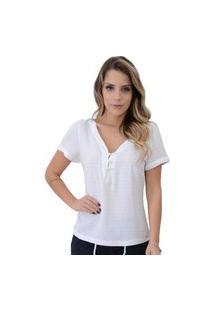 Blusa Mamorena Decote Botões Frente E Costas Branca