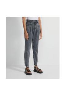 Calça Mom Jeans Marmorizado Com Pregas E Bolso Quadrado   Blue Steel   Preto   44