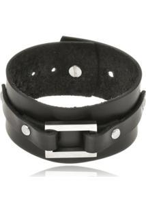 Bracelete Boca Santa Semijoias Em Couro Negro E Fivela De Aço Inox - Unisex