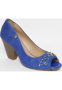 b189c0eab ... Peep Toe Em Suede Com Rebites- Azul Escuro & Douradocarmen Steffens