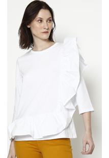 Blusa Lisa Com Babados- Branca- Colccicolcci