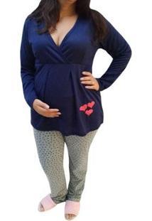 Pijama Longo Linda Gestante Inverno Maternidade E Amamentação Feminino - Feminino-Marinho+Cinza