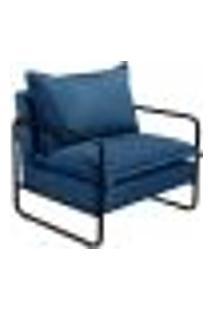 Poltrona Decorativa Diva Braço Ferro Preto Confortável Moderna - Linho Azul