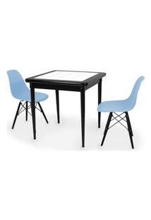 Conjunto Mesa De Jantar Em Madeira Preto Prime Com Azulejo + 2 Cadeiras Eames Eiffel - Azul Claro
