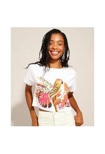 Camiseta Cropped De Algodão Papagaio Manga Curta Decote Redondo Off White