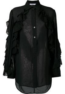 Givenchy Blusa Translúcida Com Babados - Preto