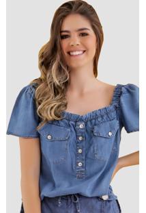 Blusa Jeans Zayon Decote Quadrado Azul - Azul - Feminino - Liocel - Dafiti