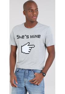 "Camiseta Masculina ""She'S Mine"" Manga Curta Gola Careca Cinza Mescla"