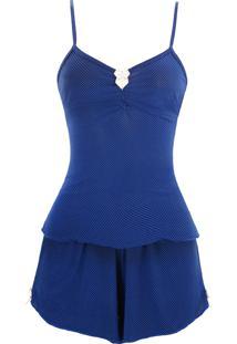 Baby Doll E Short Doll Estigma Moda Tradicional Poá Azul - Tricae