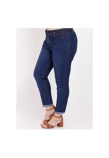 Calça Jeans Com Cinto Plus Size Feminina Azul