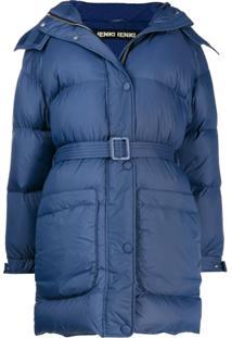 Ienki Ienki Belted Puffer Coat - Azul