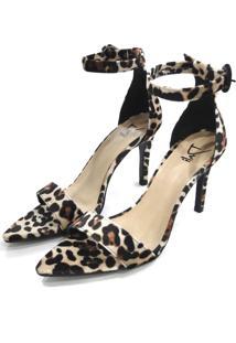 Sandália Dalí Shoes Salto Alto Fino Animal Print Preta