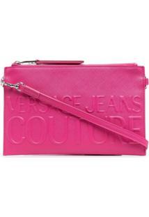 Versace Jeans Couture Clutch Com Logo Gravado - Rosa