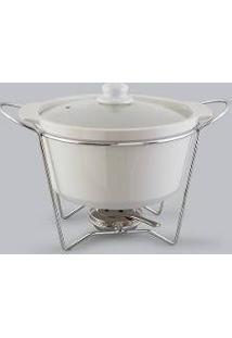 Rechaud, Refratário, Sopeira Redonda De Porcelana Bon Gourmet - R30383